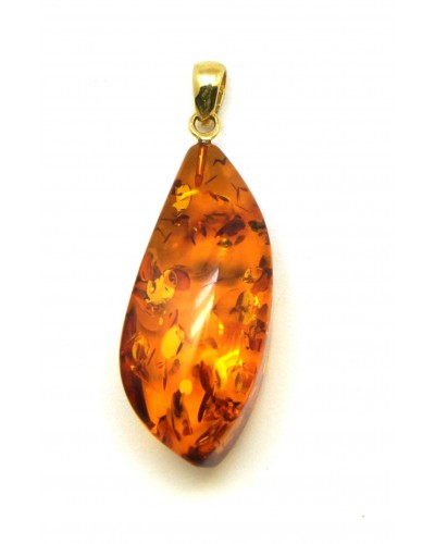 Cognac Baltic amber  pendant with 14 carat gold