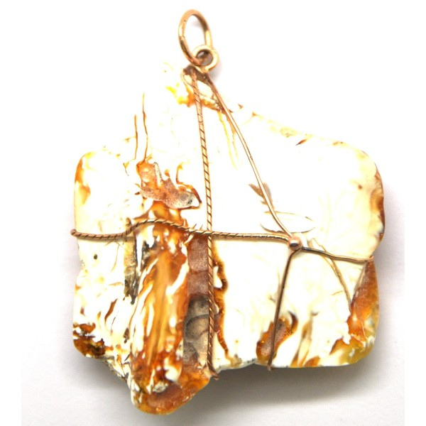 Amber pendants | Baltic amber pendant with 14 carat gold