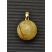Baltic amber round gold pendant 17,5 mm