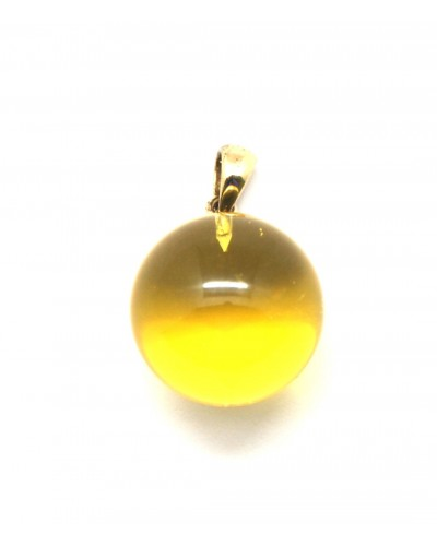 Baltic amber round gold pendant 20 mm