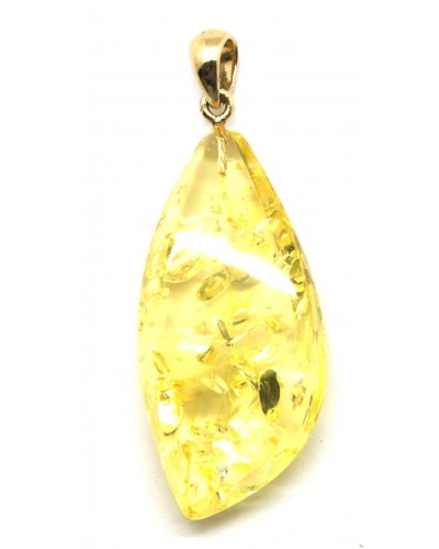 Lemon Baltic amber pendant with 14 carat gold