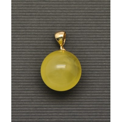 Baltic amber round gold pendant 18,5 mm-AG217