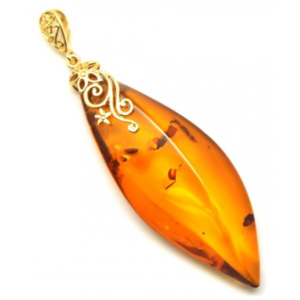 Big cognac Baltic amber 14 carat gold pendant-AG214