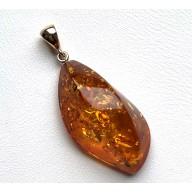 Cognac Baltic amber pendant with 14 carat gold