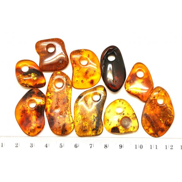10 Baltic amber pendants with hole-AP0659