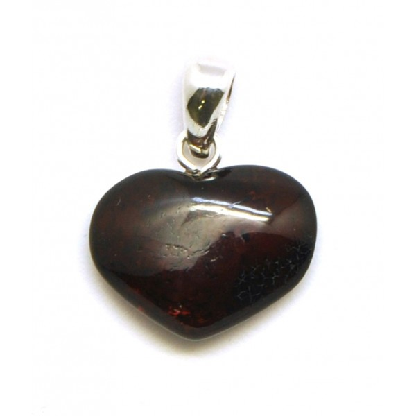 Amber pendants | Small heart shape Baltic amber cherry pendant