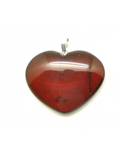 Big heart shape Baltic amber pendant
