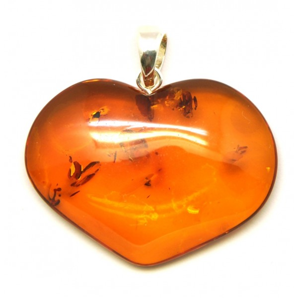 Amber pendants | Big heart shape Baltic amber pendant