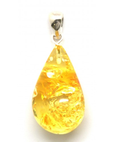 Lemon color Baltic amber drop pendant