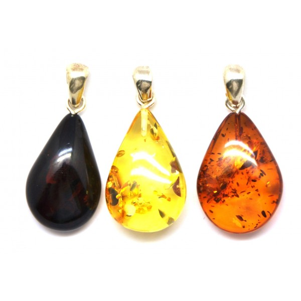 Amber pendants | Lot of 3 Baltic amber drop pendants
