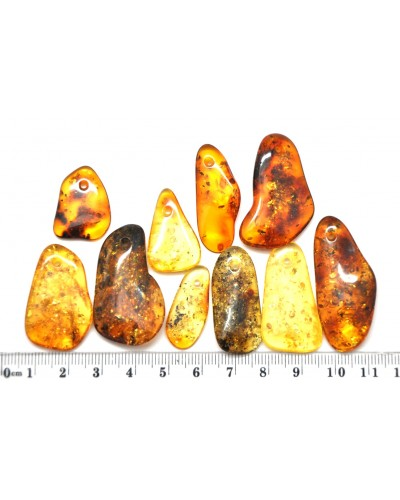 10  Baltic amber pendants with small hole