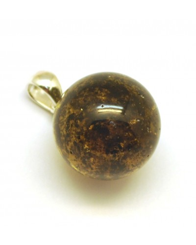 Round Baltic amber pendant with inclusion 19 mm.