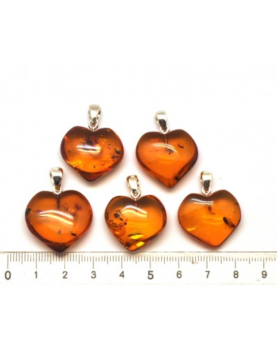 Lot of 5 cognac Baltic amber heart shape pendants