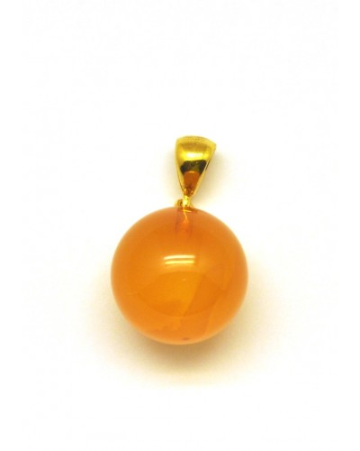 Baltic amber antique color round pendant 16 mm