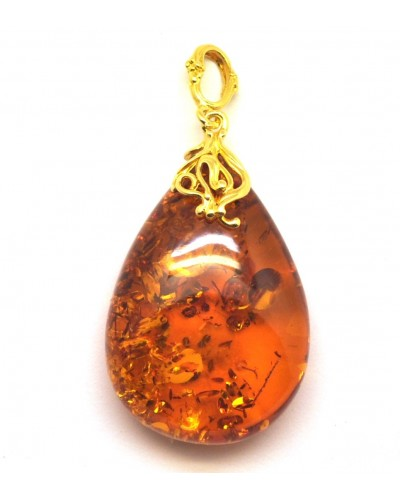 Cognac color Baltic amber drop pendant