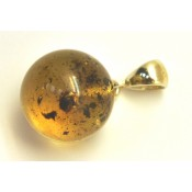 Round Baltic amber pendant with inclusion 15 mm.
