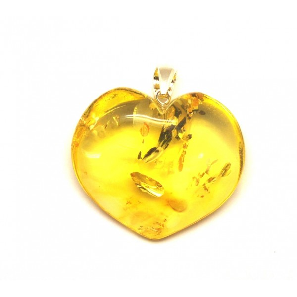 Amber pendants | Lemon heart shape Baltic amber pendant 10 g.