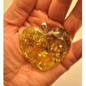 Large green heart shape Baltic amber  pendant