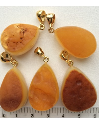5 Raw  Baltic amber pendants