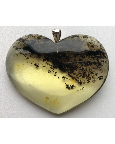 Large heart shape amber pendant