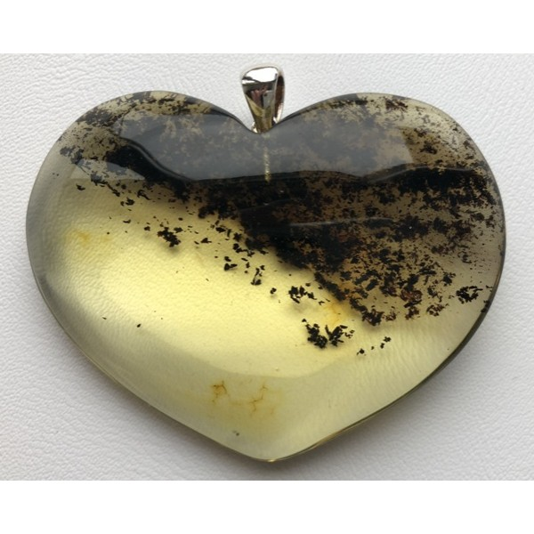 Amber pendants | Large heart shape amber pendant