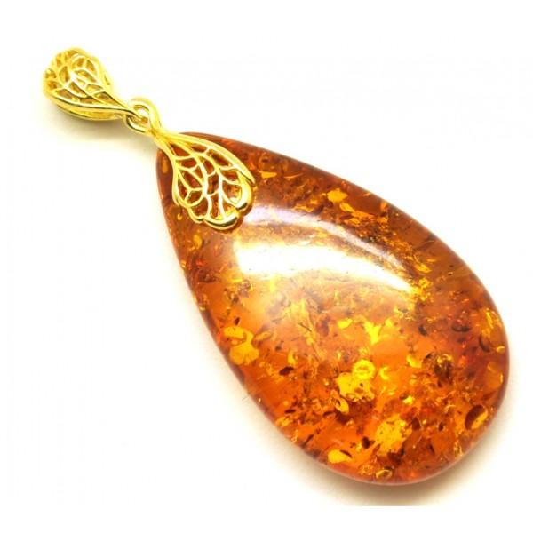 Cognac color Baltic amber drop pendant-AP1015