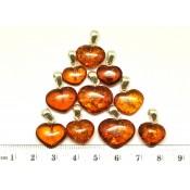 Lot of 10 cognac Baltic amber heart shape pendants