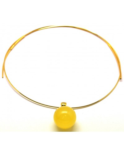Round beads amber pendant 18 mm with chain