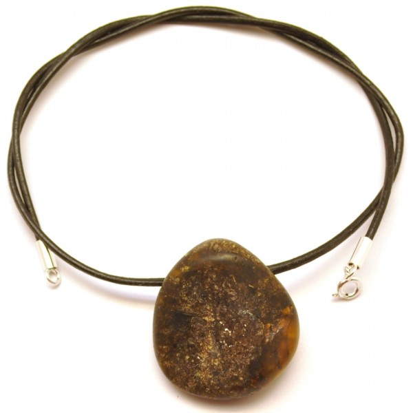 Amber pendants | Raw Baltic amber pendant with leather
