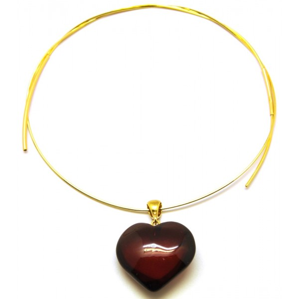 Baltic amber heart pendant with chain-AP1110