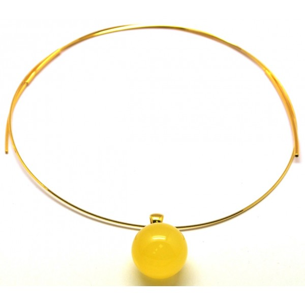 Round beads amber pendant 18 mm with chain-AP1044