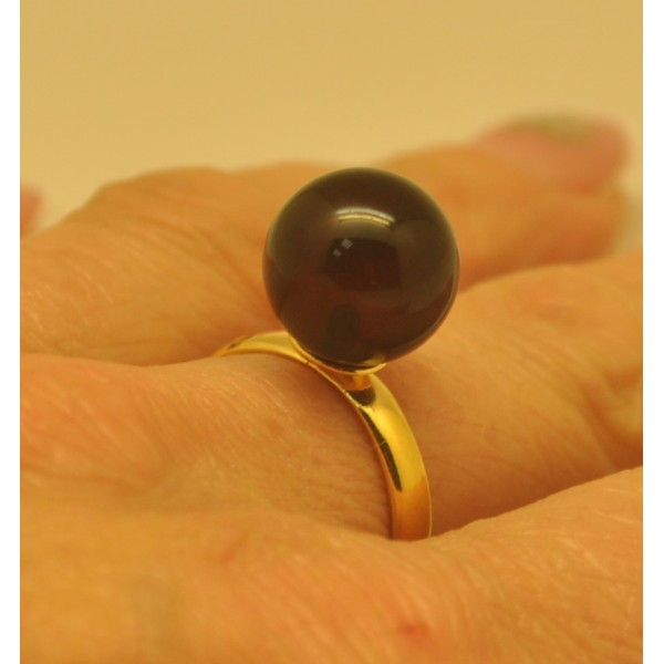 Cherry color amber ring-AR0169