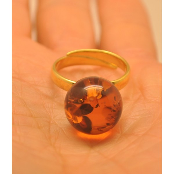 Cognac color round bead amber ring-AR0152