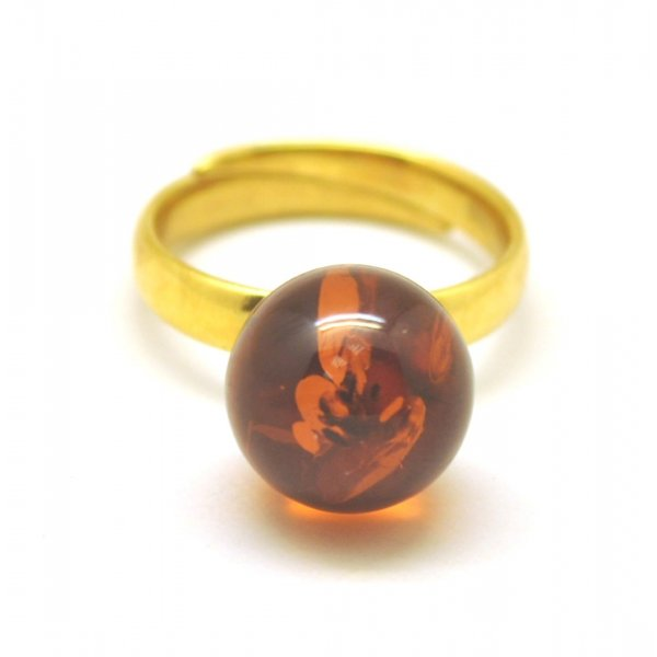 Cognac color round bead amber ring-AR0167