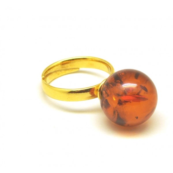 Cognac color round bead amber ring-AR0168