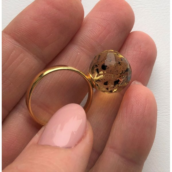 Faceted amber ring-AR0162