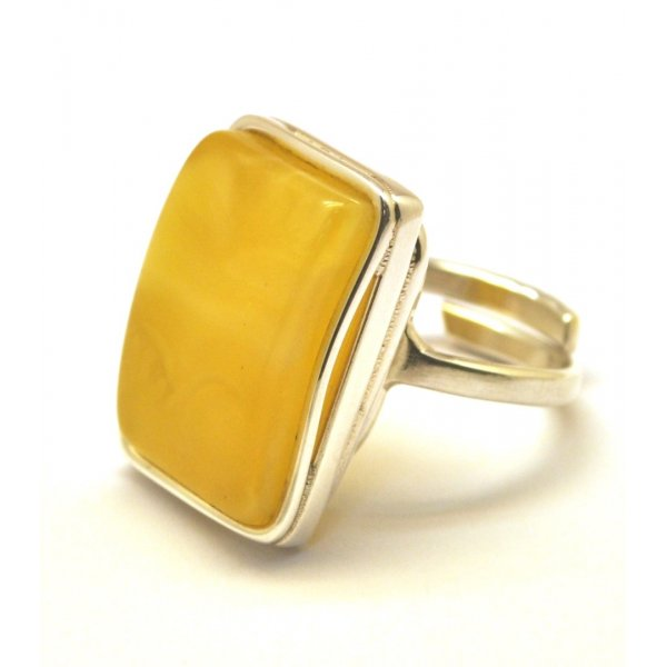 Yellow color Baltic amber ring-AR0151