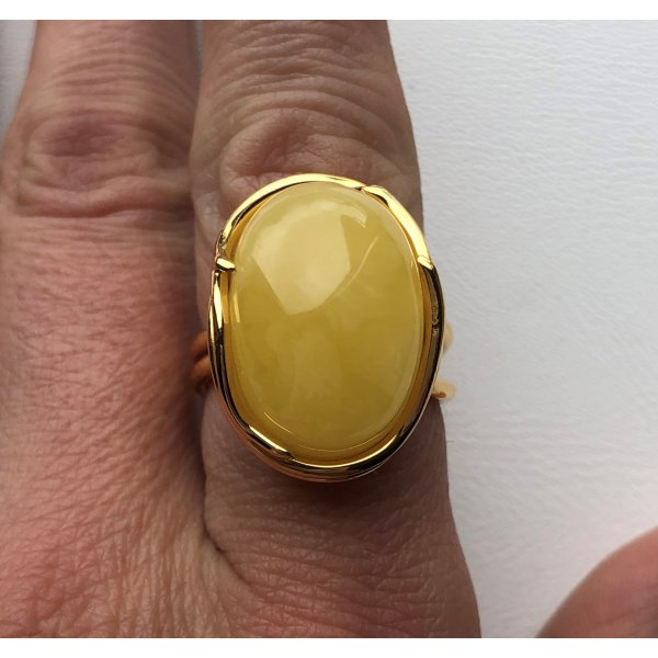 Yellow color Baltic amber ring-AR0154