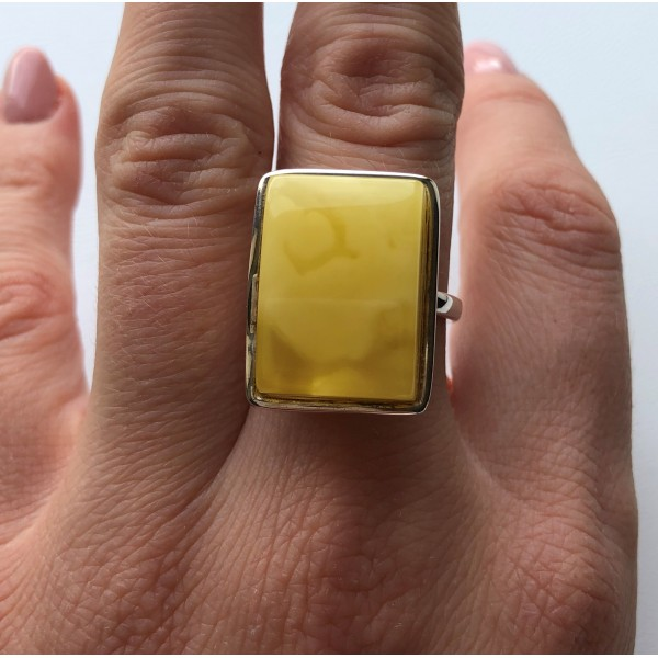 Yellow color Baltic amber ring-AR0160