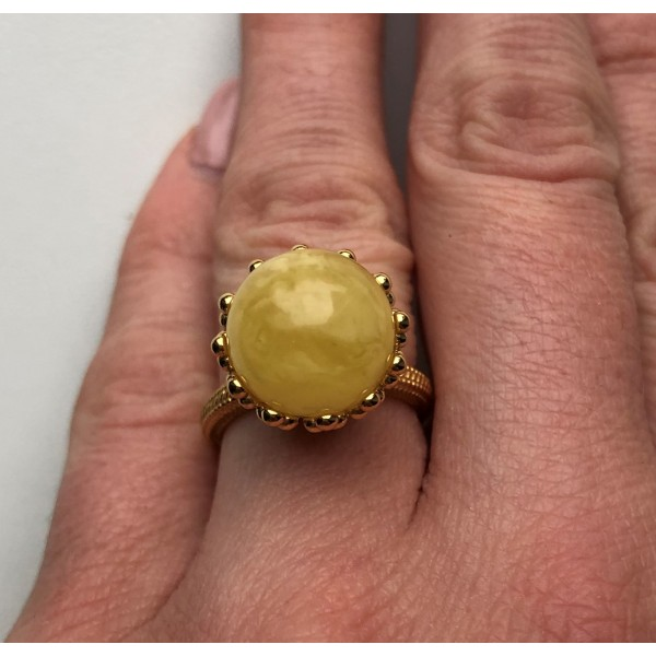 Yellow color Baltic amber ring-AR0165