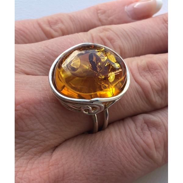 Cognac color Genuine Baltic Amber ADJUSTABLE Silver Ring -AR0175