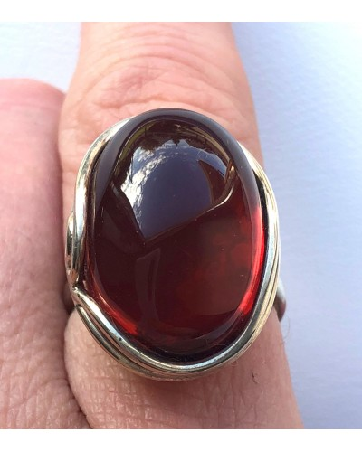 Genuine Baltic Amber ADJUSTABLE Silver Ring
