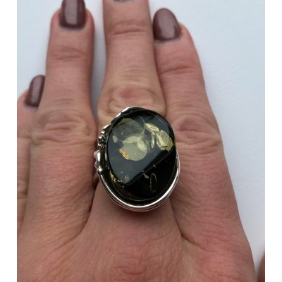 Green color Baltic amber ring-AR0171