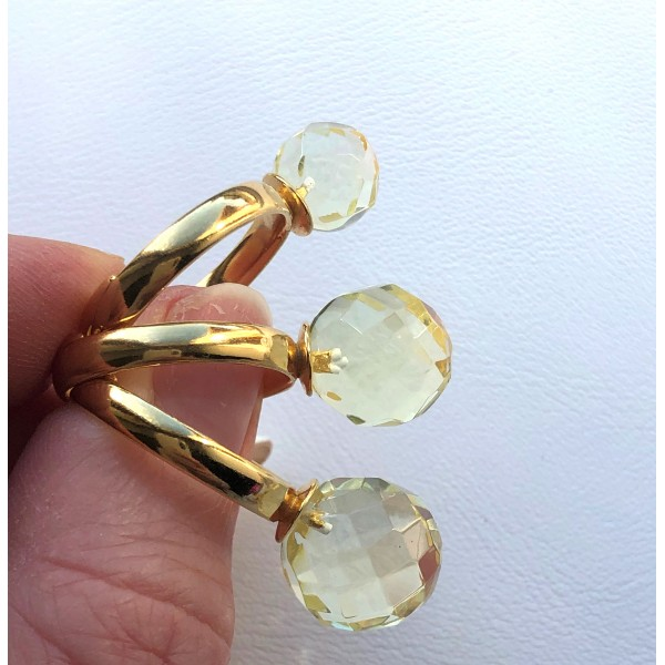 Lot of 3 round faceted Baltic amber rings-AR0176