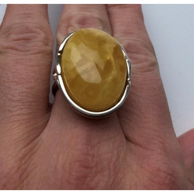 Yellow color Baltic amber ring-AR0170