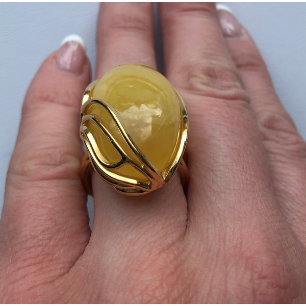 Yellow color Baltic amber ring-AR0172