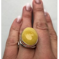 YELLOW Genuine Amber ADJUSTABLE Ring