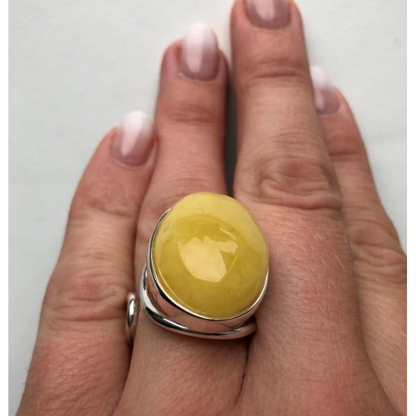 YELLOW Genuine Amber ADJUSTABLE Ring -
