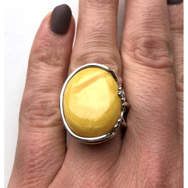YELLOW Genuine Baltic Amber ADJUSTABLE Ring -