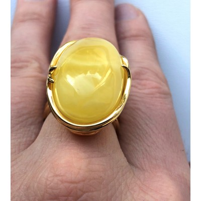YELLOW Genuine Baltic Amber ADJUSTABLE Ring